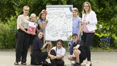 An image of children with a poster about sexuality Education and equality.