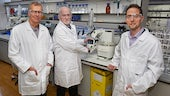John Atack, Peter Halligan and Simon Ward in the lab