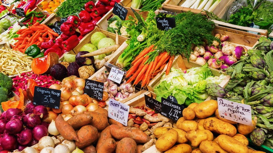 Image of fresh fruit and vegetables at a market
