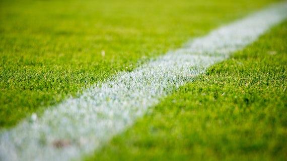 White line on green grass