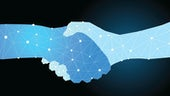 a hand shake consisting on one light and one dark blue digital hand
