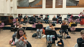 Cardiff University Symphony Orchestra in a socially distanced rehearsal