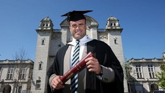 Jamie Roberts outside Main building, Cathays campus
