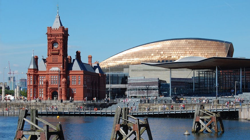Wales Millenium Centre and the Pierhead Building on the waterfront at Cardiff Bay.
