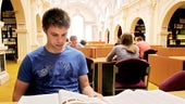 Student in law library