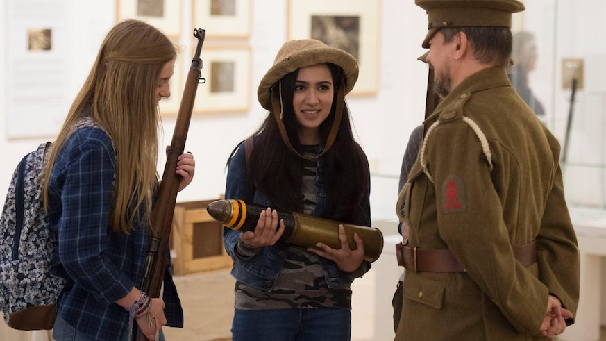 Students take part in an interactive guided tour of the National Museum of Wales' current WW1 exhibition 'War's Hell!' The Battle of Mametz Wood in Art.