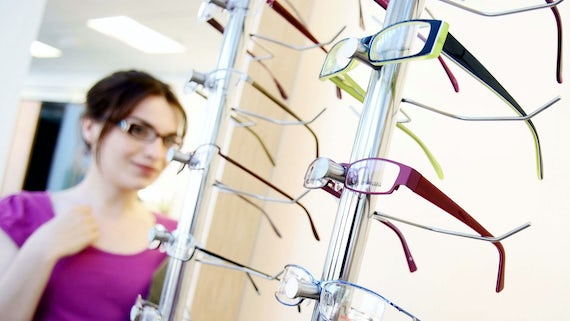 Glasses on display at the Eye Clinic