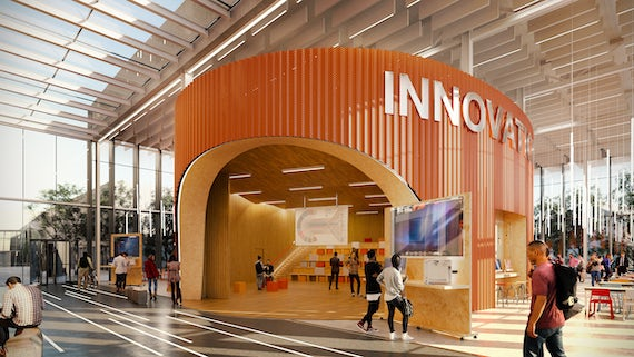 Architect's impression of the interior of Innovation Central with people walking around.