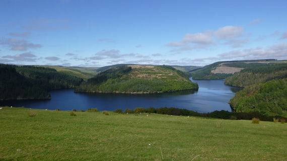 Landscape showing Llyn Brianne reservior in autumn