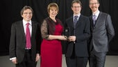 The Gravitational Physics team picking up their award.