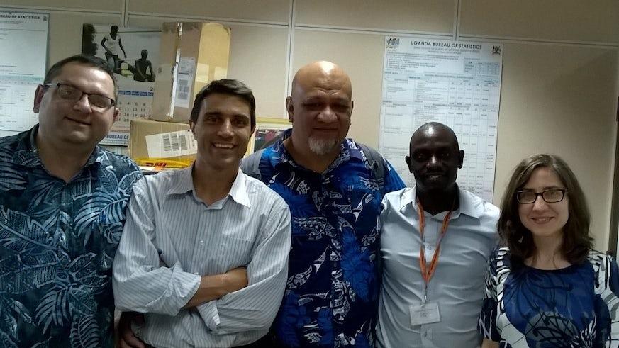 From left: Dr Shailen Nandy, Cardiff University, Dr Diego Angemi, Chief, Social Policy and Advocacy at UNICEF Uganda, Dr Viliami Konifelenisi Fifita, Government Statistician, Kingdom of Tonga, Mr Vincent Ssennono, Principal Statistiian at UBOS, and Dr Sebnem Hawksworth-Eroglu, University of Bristol
