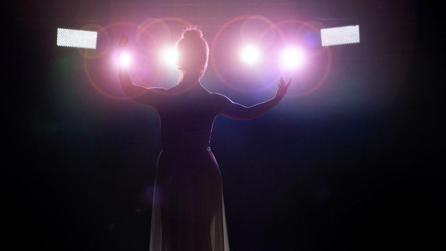 Female singer addresses audience