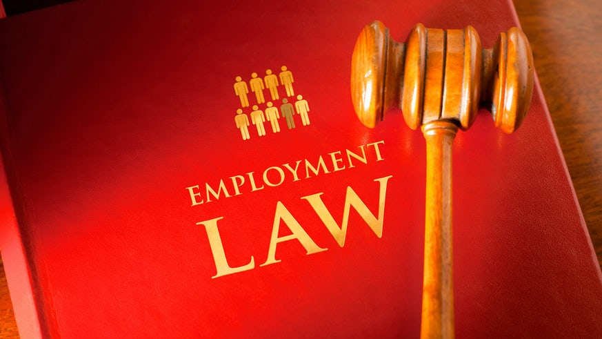 Employment Law book and hammer