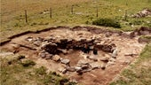 Aerial shot of archaeological dig