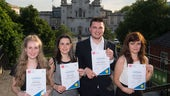 Student celebrate with their Cardiff Awards