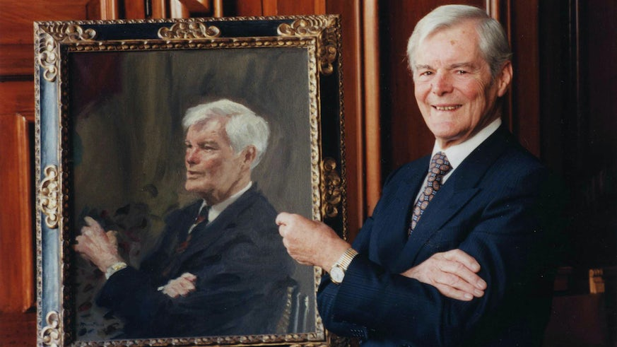 Sir Donald Walters with portrait