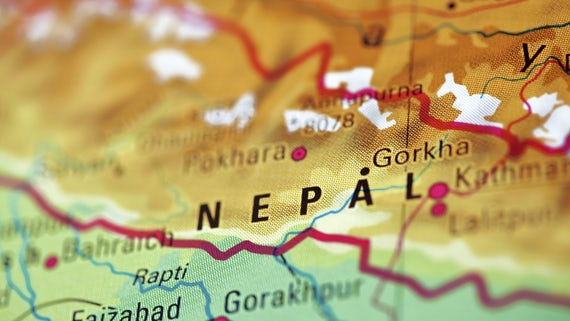 Map showing location of Nepal