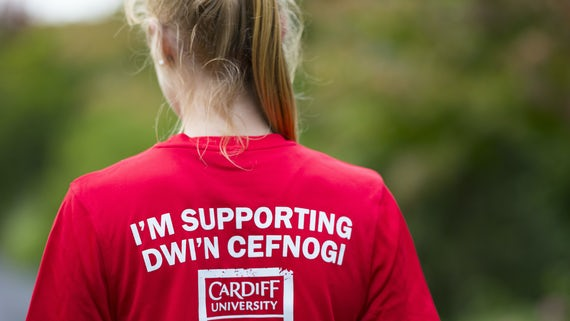 Fundraiser wearing a Cardiff shirt