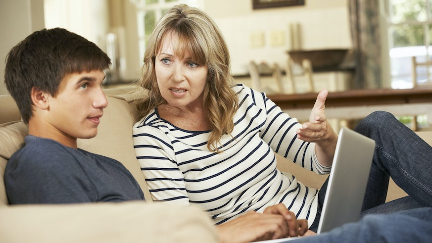 Mother arguing with son