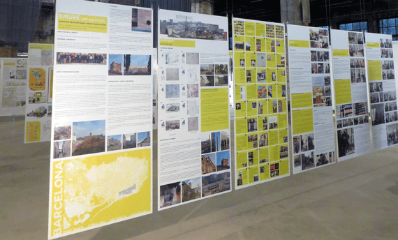 Photograph of research posters on display