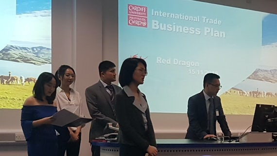 Team Red Dragon presenting their business plan