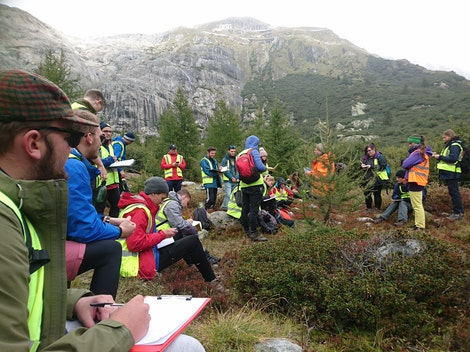 Students on fieldwork in the Swiss Alps