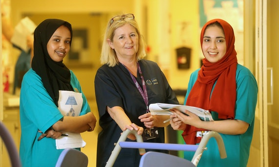 Students chat to healthcare professionals on placement