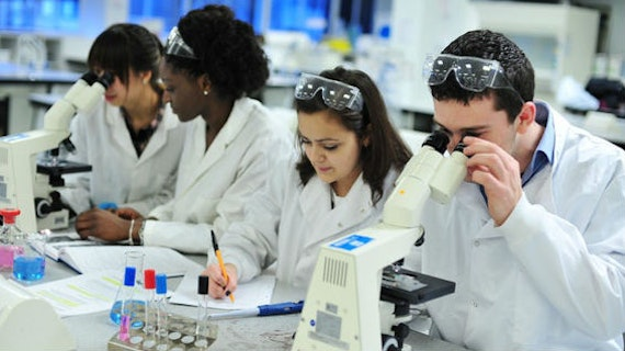 Students studying in lab using microscope.