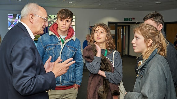 Professor Sir Leszek Borysiewicz speaking to the students