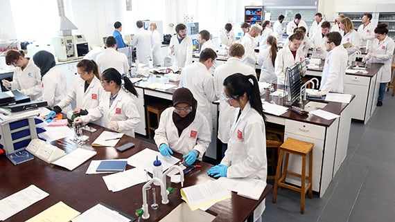 Group of Chemistry students in lab
