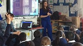Third year medical student Hannah Cowan at Tredegarville Church in Wales Primary School.