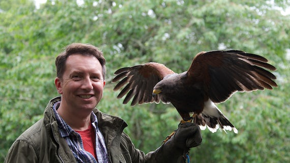 Dr Rhys Jones with an eagle