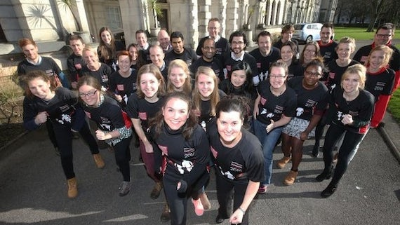 Members of Team Cardiff in their black running shirts