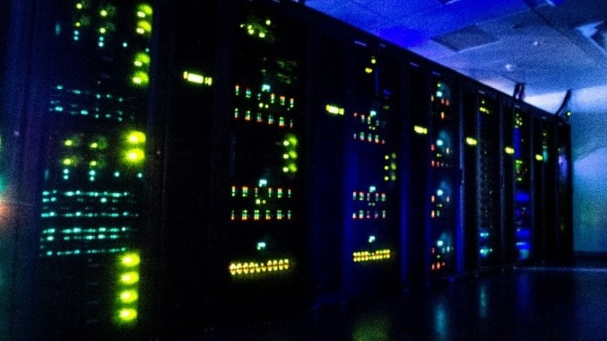 Dark image of the supercomputer with lights