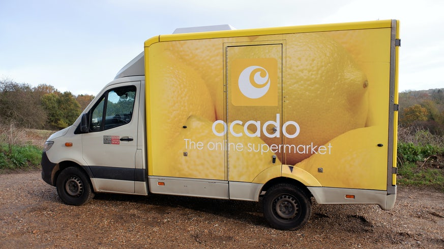 Supermarket delivery vehicle in rural setting