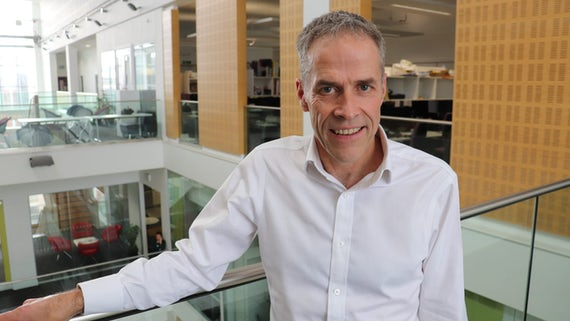 Professor Jon Bisson photographed in the Hadyn Ellis Building, Cardiff University