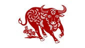 Red illustrated Ox