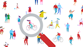 A graphic representation of the general public with a large magnifying glass hovering over a young woman on a bike