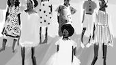 Black and white drawing of black women