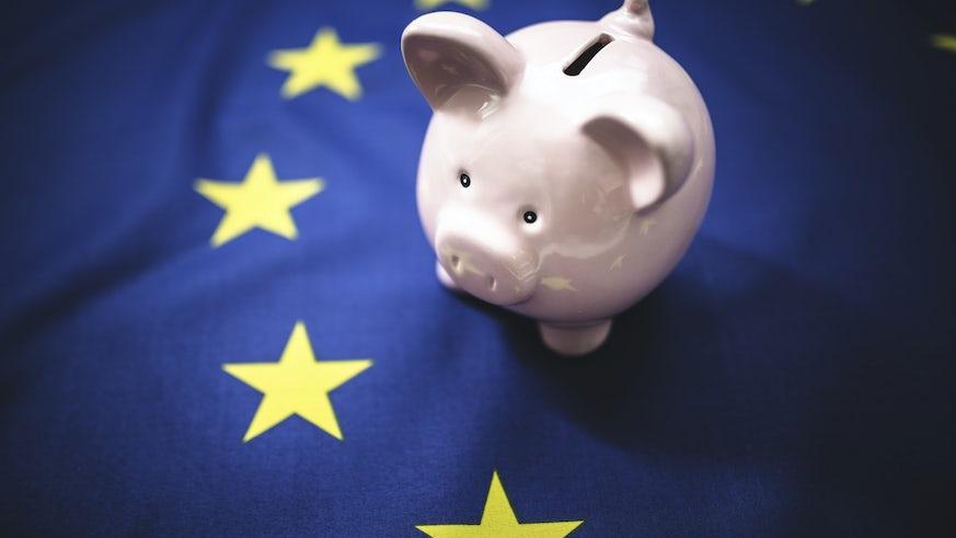 EU flag and piggy bank