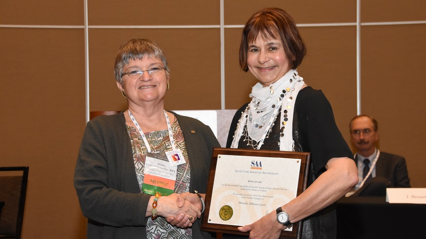 Emeritus Professor Miranda Aldhouse-Green receives her award at the Society for American Archaeology Awards on 8 April in Orlando.