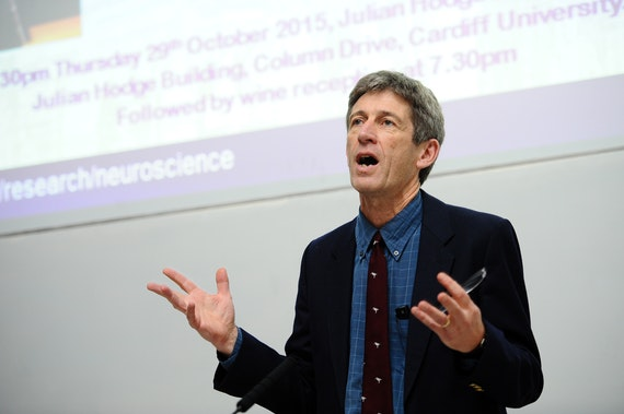 Photograph of Professor John Aggleton at a public lecture