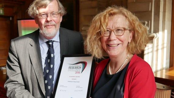 Academic award winner Professor Tony Crook with Trudi Elliott, RTPI Chief Executive