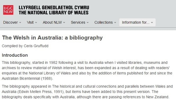The Welsh in Australia: a bibliography by Ceris Gruffudd, National Library of Wales