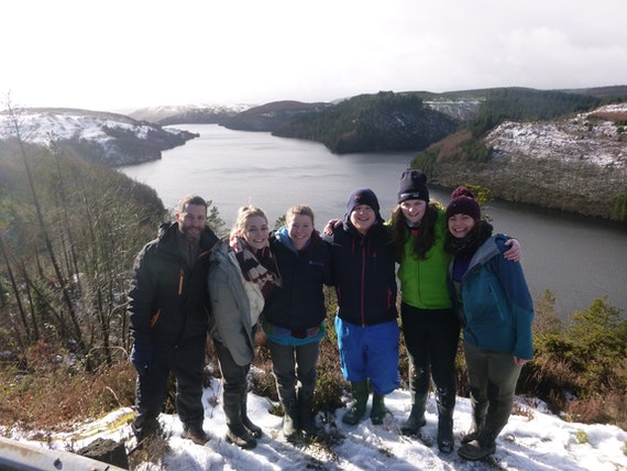 Team of students with Llyn Brianne reservior in background