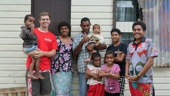 Callum Drummond with Batiki family