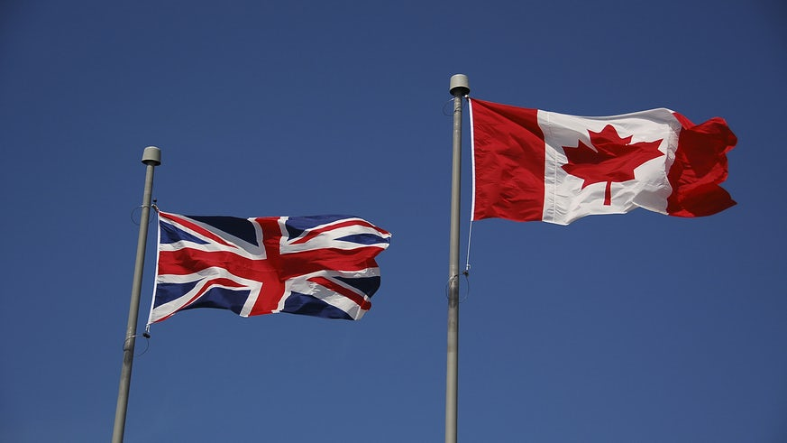 British and Canadian flags