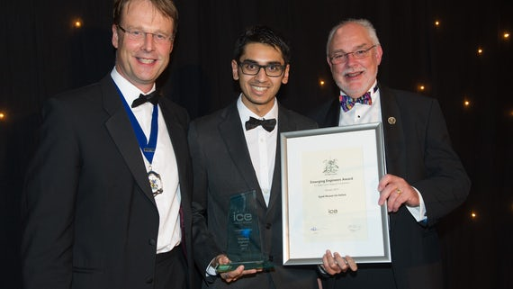 Syed accepting his award at the ICE Awards Dinner.