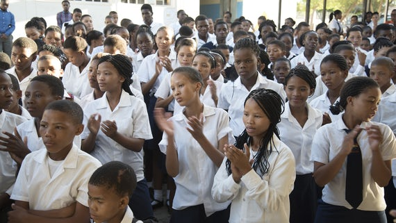 Namibian school children clapping