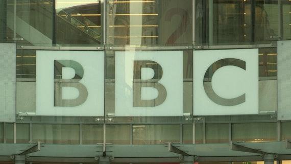 BBC logo on a window